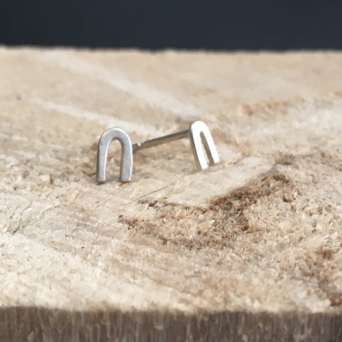 Narrow Arch Earrings in silver or bronze