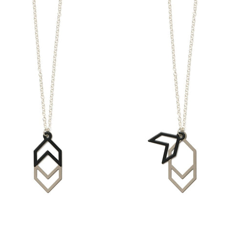 Double Angles Necklace Black and Silver