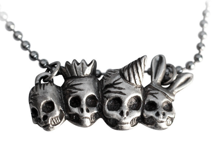 Party Skulls Necklace Silver