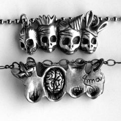 Party Skulls Necklace Bronze