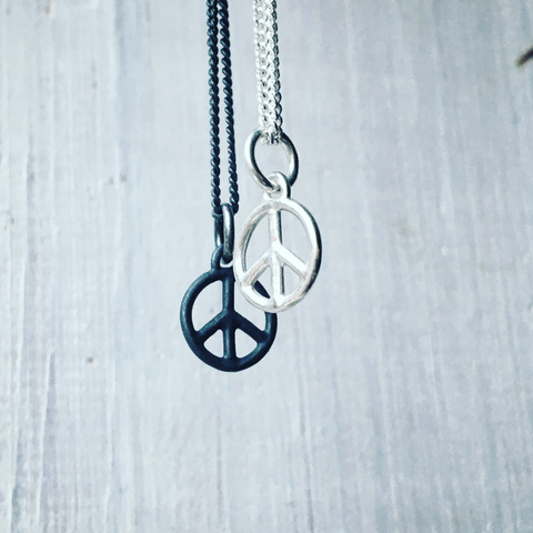 Peace Sign Tiny Charm Necklace Silver
