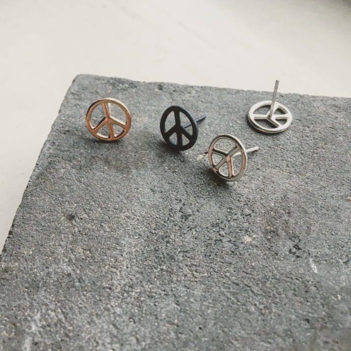 Peace Symbol Earring Unisex Single or A Pair