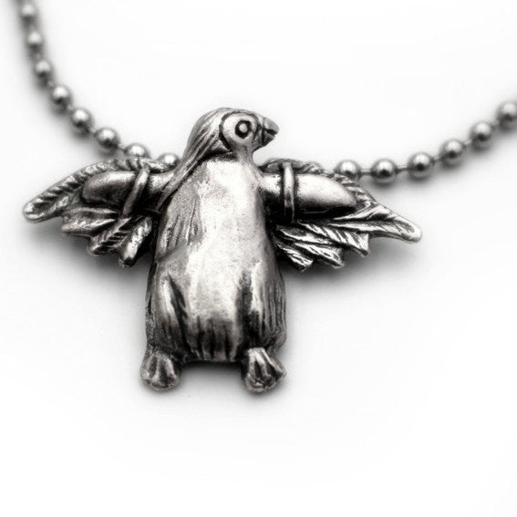 Penguin take flight Necklace Silver