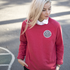 Globe Red Unisex Sweater Recycled Fabric