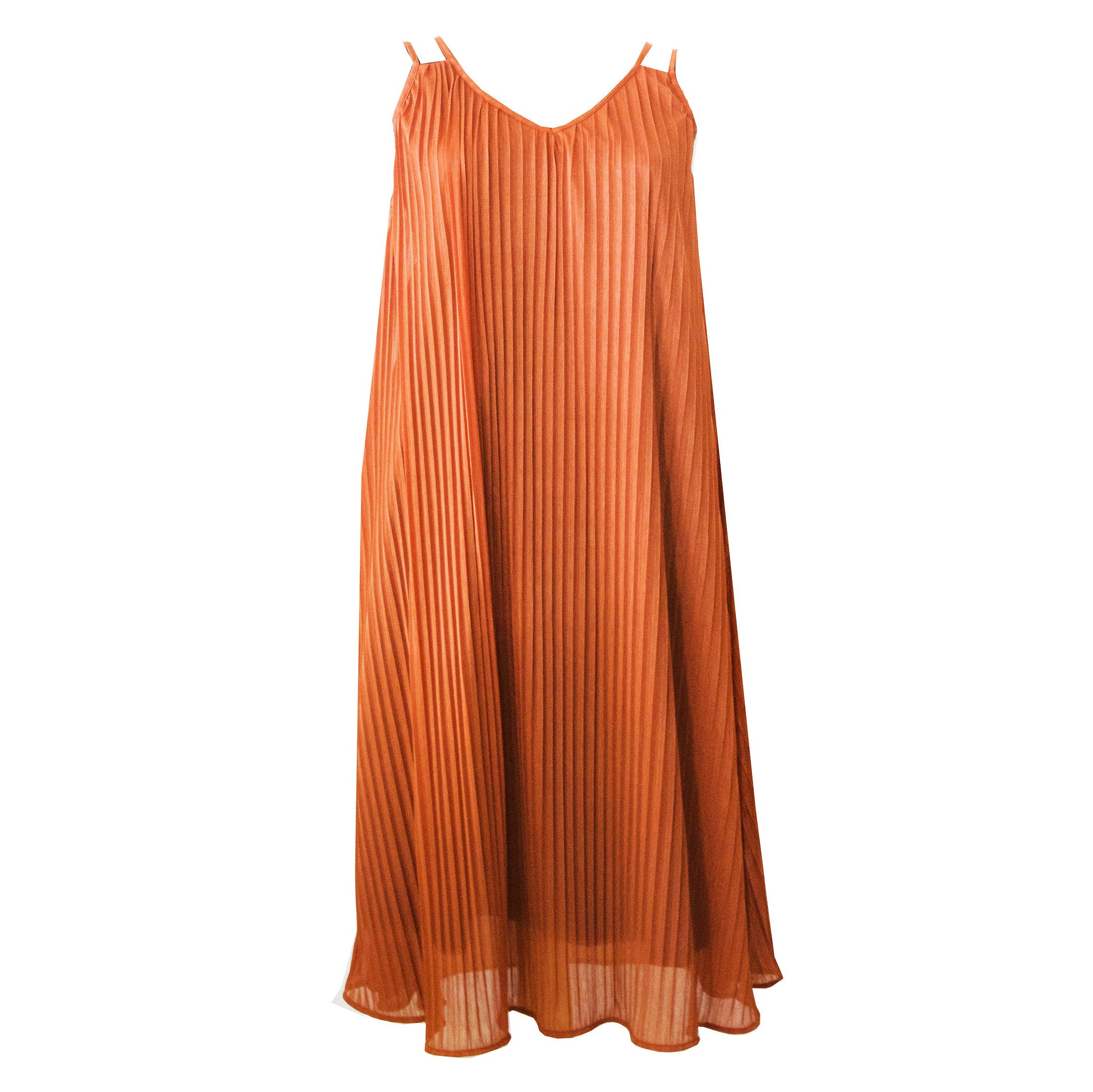 Rust Pleated Sleeveless Dress