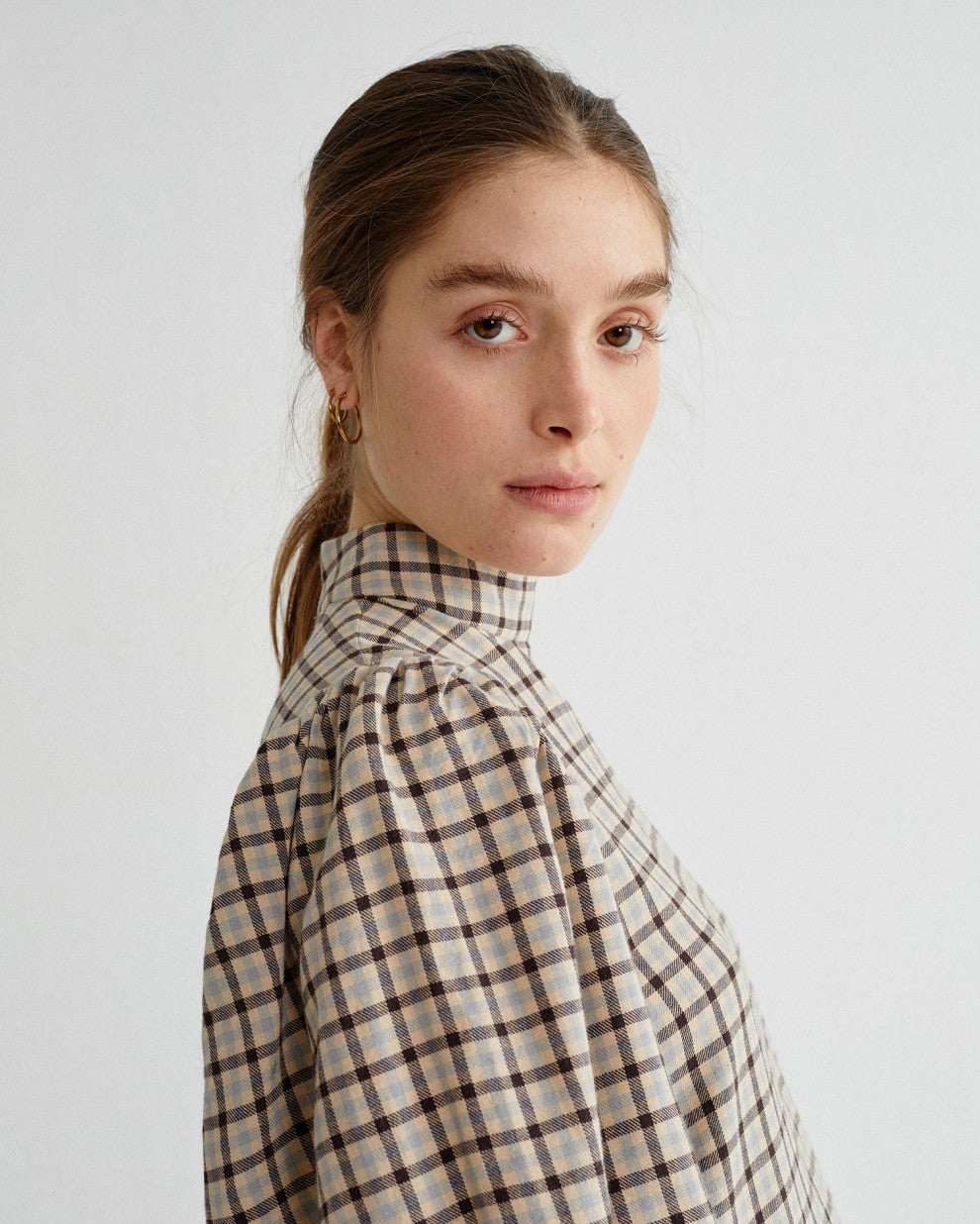 Small Checks Flora Dress