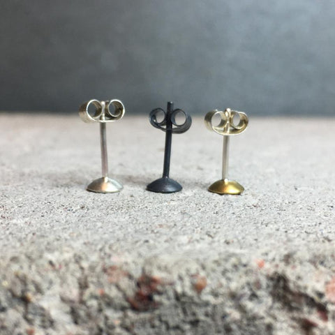 Tiny Dome Earrings Brass or Silver