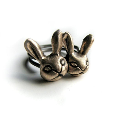 Twin Rabbits Ring Bronze