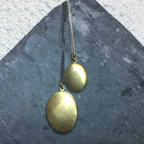 Vintage Large Locket Necklace Brushed Brass