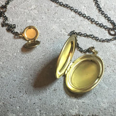 Vintage Tiny Charm Locket Necklace Brushed Brass