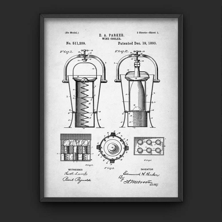 Wine Cooler 1893 Patent Print Antique Illustration (A4)