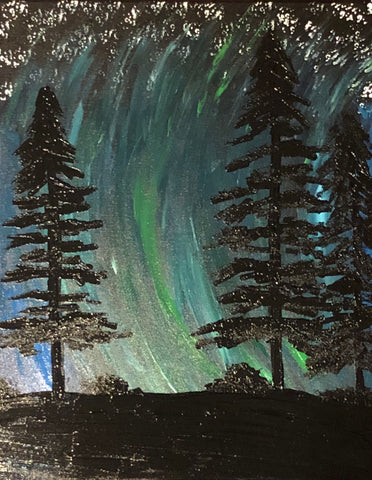 The Aurora Borealis Painting, A Bands For Arms Artwork Piece