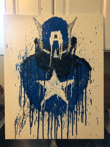 The Captain America Bust Painting, A Bands For Arms Artwork Piece