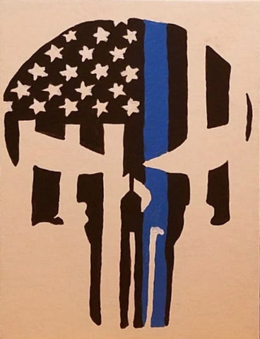 The Punisher's Blue Line Painting, A Bands For Arms Artwork Piece