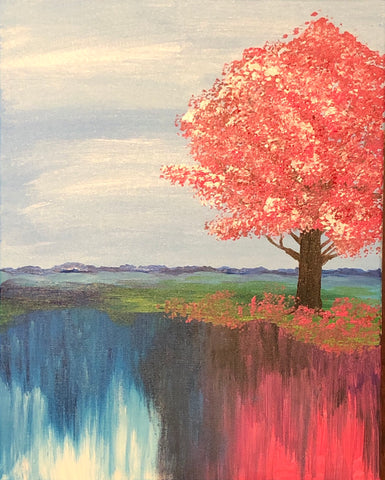 The Lakeside Cherrytree Painting, A Bands For Arms Artwork Piece