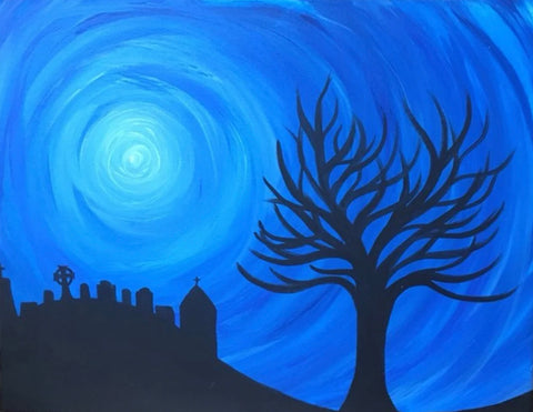 The Tree Down the Hill Painting, A Bands For Arms Artwork Piece