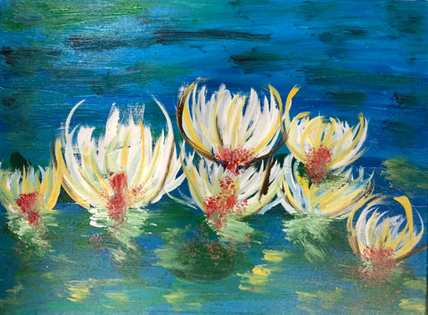 The Water Lillies Painting, A Bands For Arms Artwork Piece
