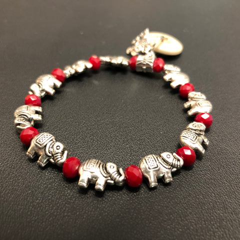 The Ruby Red Elephants Bracelet