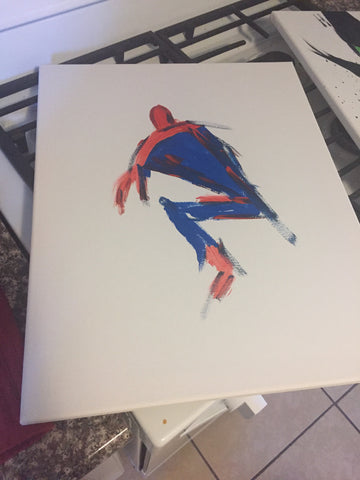 *******************************************************************************************************************************************************************************The Sitting Spider-Man Painting, A Bands For Arms Artwork Piece