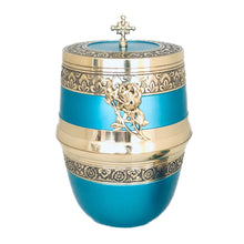 Load image into Gallery viewer, Blue and Brass Decorative Urn