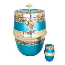 Load image into Gallery viewer, Blue and Brass Cremation Keepsake Urn (set of 4)