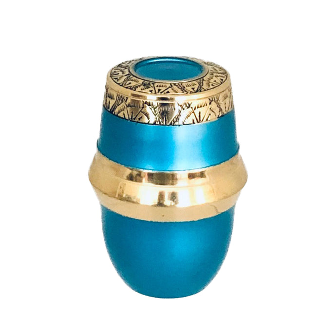 Blue and Brass Cremation Keepsake Urn