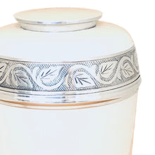 Load image into Gallery viewer, White Enameled Cremation Urn