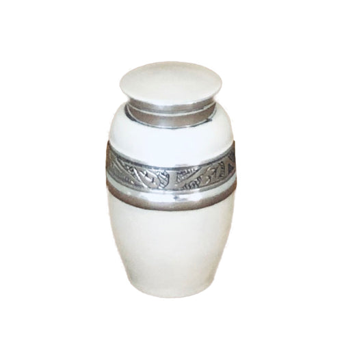White Enameled Cremation Keepsake Urn