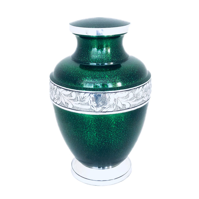 Green Engraved Band Cremation Urn