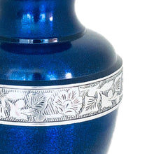 Load image into Gallery viewer, Blue Engraved Band Cremation Urn