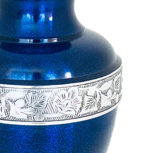 Blue Engraved Band Cremation Urn