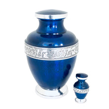 Load image into Gallery viewer, Blue Engraved Band Cremation Keepsake Urn (set of 4)