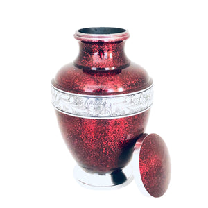 Red Engraved Cremation Urn