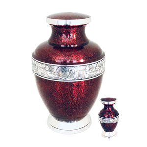 Red Engraved Cremation Keepsake Urn (set of 4)