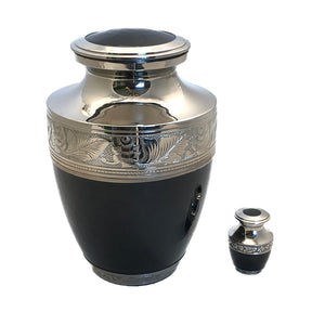 Black Enameled Cremation Keepsake Urn