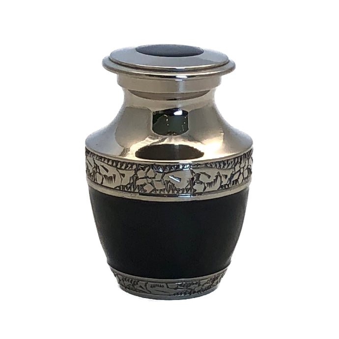 Black Enameled Cremation Keepsake Urn (set of 4)