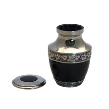 Load image into Gallery viewer, Black Enameled Cremation Keepsake Urn (set of 4)