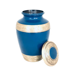 Load image into Gallery viewer, Blue and Brass Engraved Cremation Urn