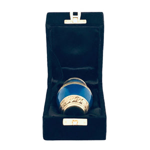 Blue and Brass Engraved Cremation Keepsake Urn