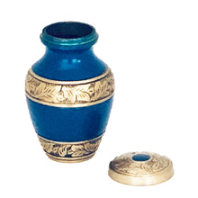 Load image into Gallery viewer, Blue and Brass Engraved Cremation Keepsake Urn