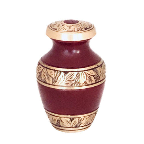 Maroon and Brass Engraved Cremation Keepsake Urn