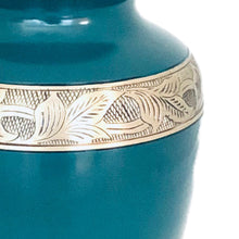 Load image into Gallery viewer, Green and Brass Engraved Urn