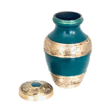 Load image into Gallery viewer, Green and Brass Engraved Cremation Keepsake Urn (set of 4)