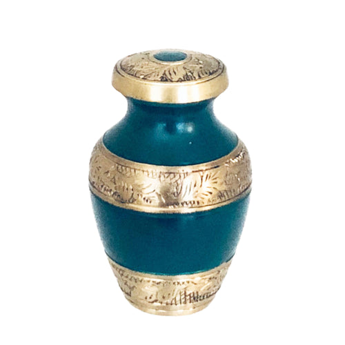 Green and Brass Engraved Cremation Keepsake Urn (set of 4)