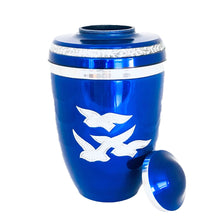 Load image into Gallery viewer, Royal Blue Birds Flying Cremation Urn