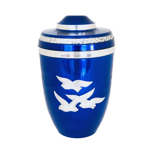 Royal Blue Birds Flying Cremation Urn