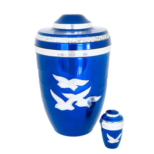 Royal Blue Birds Flying Cremation Keepsake Urn (set of 4)