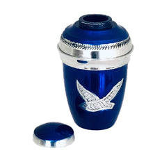 Load image into Gallery viewer, Royal Blue Birds Flying Cremation Keepsake Urn