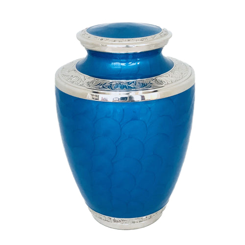 Blue Glossy Enameled Cremation Urn