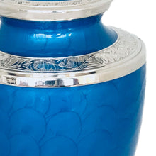 Load image into Gallery viewer, Blue Glossy Enameled Cremation Urn
